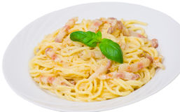 Pasta with bacon and cream sauce Royalty Free Stock Images