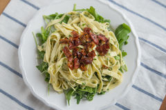 Pasta with bacon Stock Photography