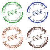 Pasta badge isolated on white background. Flat style round label with text. Circular emblem vector illustration Stock Photography