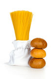 Pasta in a bag and sandwich bun Royalty Free Stock Photography
