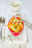 PASTA BAKE. The baked paste with vegetables and tomatoes Stock Photos