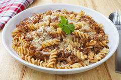 Pasta Bake with Bolognese Sauce Stock Image