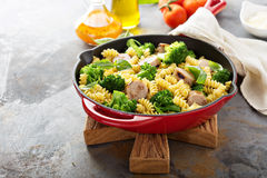 Pasta bake with sausage and broccoli Stock Photography