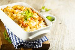 Pasta bake with tomatoes, cheese and fresh parsley Royalty Free Stock Photography