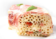 Pasta baked with prosciutto Royalty Free Stock Image