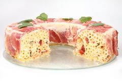 Pasta baked with prosciutto Stock Images