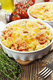 Pasta baked with tomato and cheese Royalty Free Stock Photos