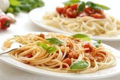 Pasta with basil Stock Photo