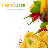 Pasta with basil Stock Image