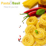 Pasta with basil Stock Images