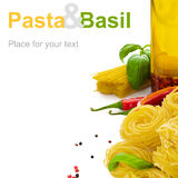 Pasta with basil Stock Photo