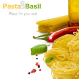 Pasta with basil Stock Photography