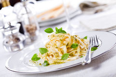 Pasta With Basil Dinner stock photography