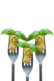 Pasta and basil leaf on fork Royalty Free Stock Photos