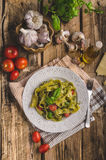 Pasta with basil pesto Stock Photo
