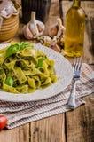 Pasta with basil pesto Stock Image