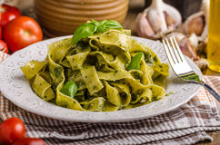 Pasta with basil pesto Royalty Free Stock Image