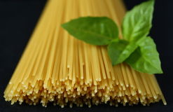 Pasta and basil Stock Photo