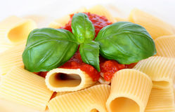 Pasta with basil and tomato sauce Stock Photos