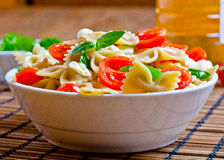 Pasta with basil, tomatoes and italian cheese called mozzarella Stock Image