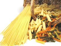 Pasta in basket Royalty Free Stock Photos