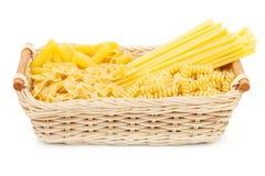 Pasta in basket Royalty Free Stock Photo
