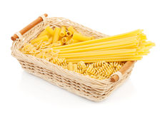 Pasta in basket Royalty Free Stock Images