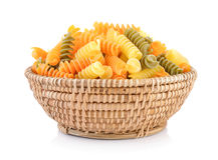 Pasta in basket stock photo