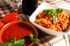 Pasta and beans. With wine Stock Images