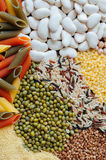 Pasta With Beans. Colorful of dry cereals and beans backdrop Royalty Free Stock Photography