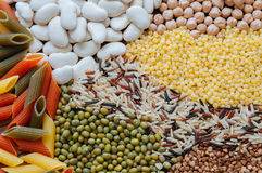 Pasta With Beans. Colorful of dry cereals and beans backdrop Stock Photo