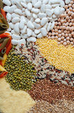 Pasta With Beans. Colorful of dry cereals and beans backdrop Royalty Free Stock Photo