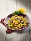 Pasta with beans sauce stock photo