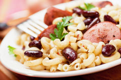 Pasta with beans and sausage Stock Photography