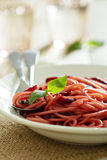 Pasta with beetroot Royalty Free Stock Photos