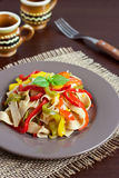 Pasta with bell peppers Stock Photos