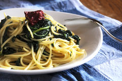 Pasta with black cabbage Stock Image