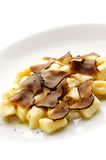 Pasta with black truffle Royalty Free Stock Photos