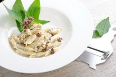 Pasta with black Truffles and cream Royalty Free Stock Photo