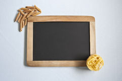 Pasta and Blackboard Royalty Free Stock Images