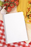Cooking Italian pasta selection with blank recipe book, cookbook, copy space, vertical Stock Photo