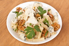 Pasta with blue cheese and walnuts Royalty Free Stock Photo