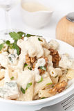 Pasta with blue cheese and walnuts Stock Image