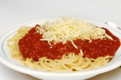 Pasta bolognaise with cheese Stock Photography