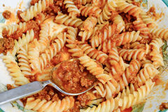 Pasta bolognese. Pasta spirals with bolognese sauce royalty free stock photo