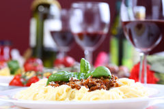 Pasta bolognese with basil and cheese Royalty Free Stock Photo
