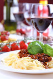 Pasta bolognese with basil Royalty Free Stock Image