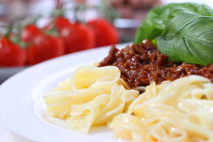 Pasta bolognese with basil Stock Images