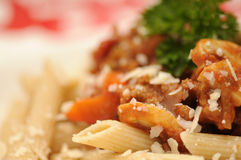Pasta bolognese close-up Stock Images