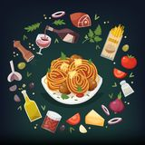 Pasta bolognese dish. Spaghetti Bolognese with meatballs and tomato sauce and herbs with ingredients for cooking around it. Pasta dish vector illustration Royalty Free Stock Photos
